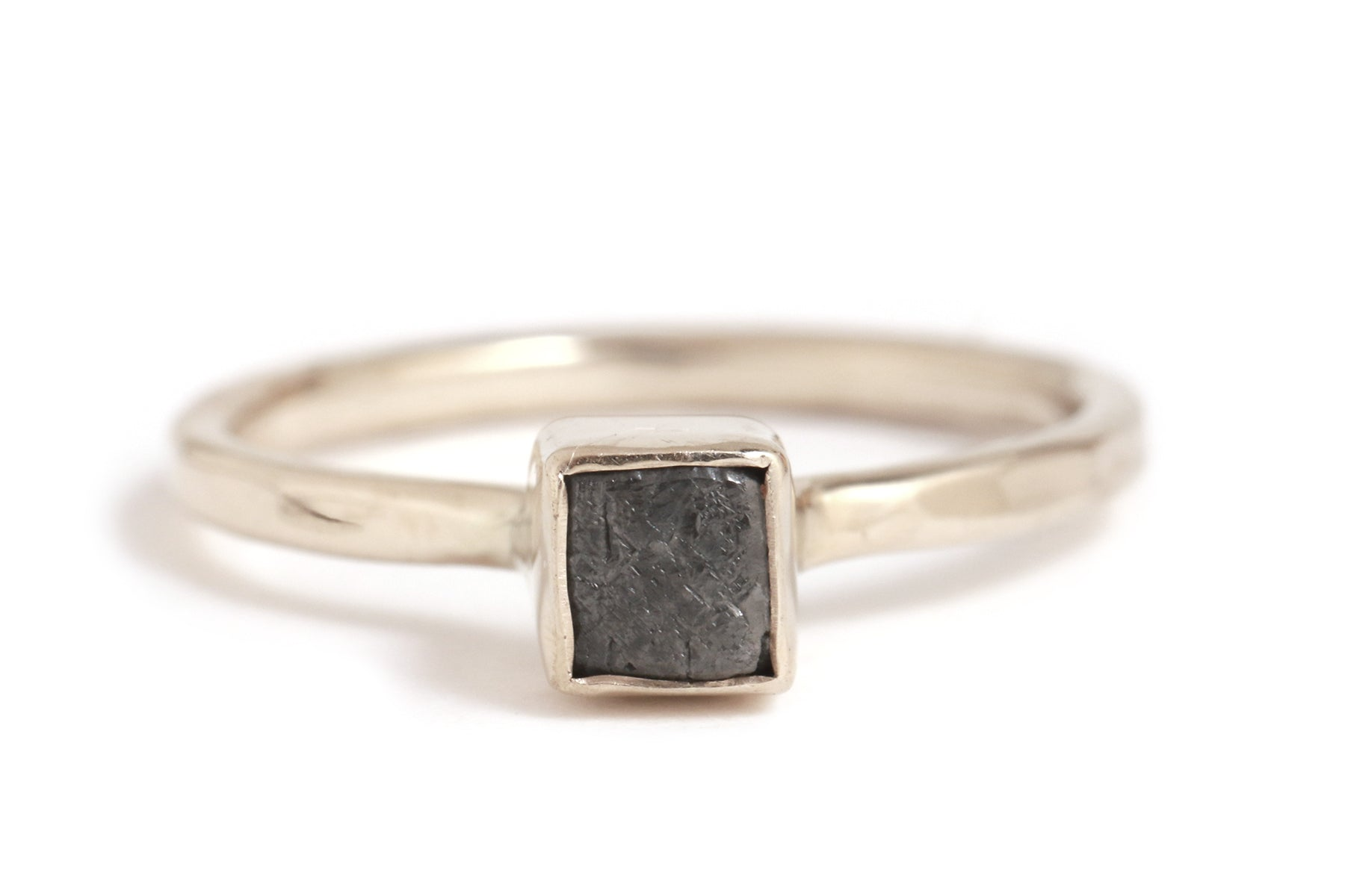 Square Black Rough Diamond Ring - Melissa Joy Manning Jewelry
