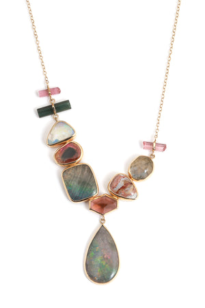 Asymmetrical Multistone Collar Necklace
