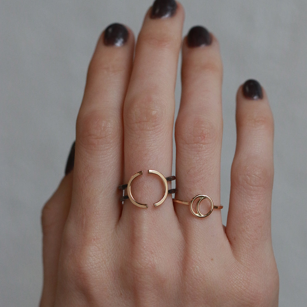 Open Crescent Ring - Silver and Gold