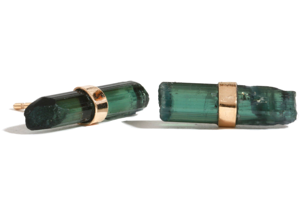 Green Tourmaline Stick Stud Earrings - Melissa Joy Manning Jewelry
