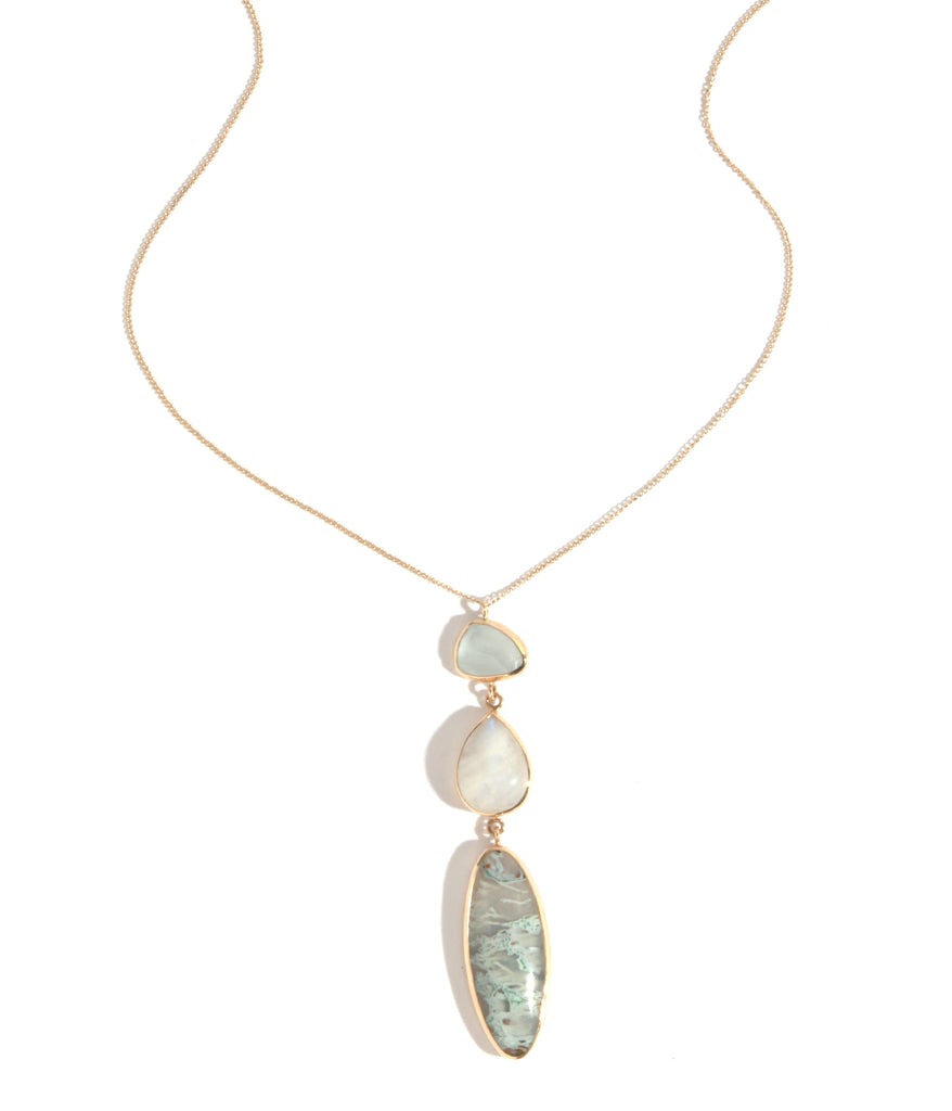 Aqua, moss agate, and blue moonstone necklace