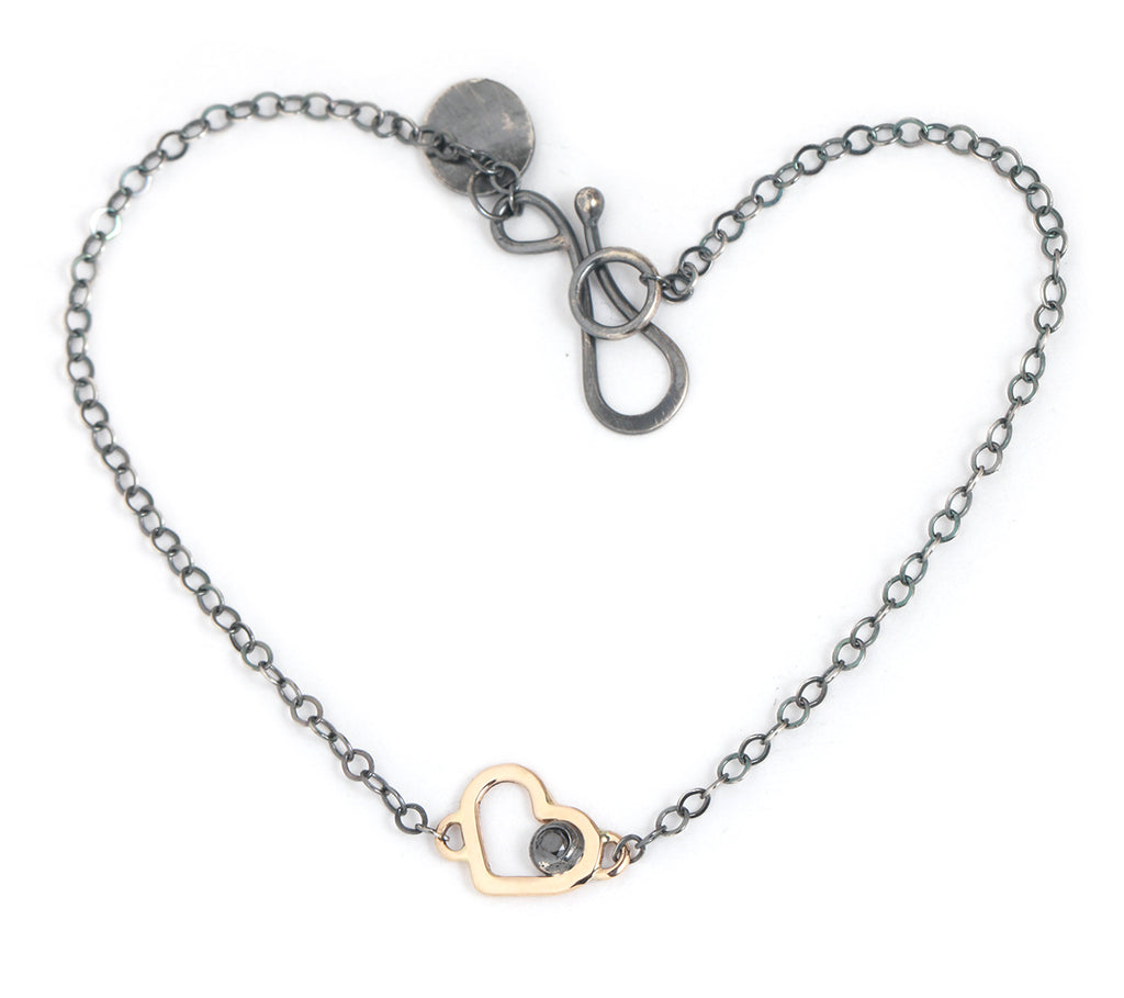 Mixed Metal Heart Chain Bracelet with Black Diamond