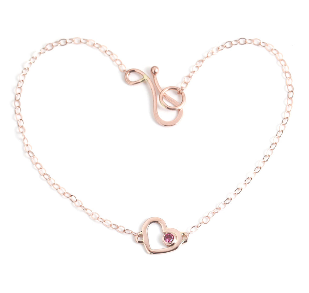 Rose Gold Heart Chain Bracelet with Ruby