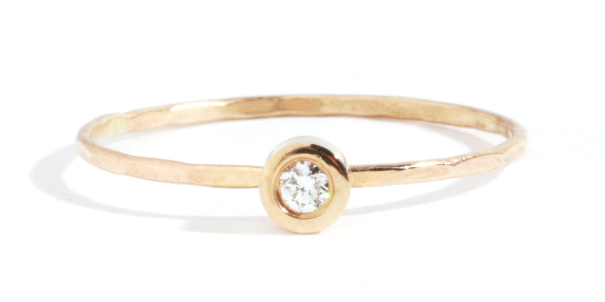 Flush set diamond ring - Melissa Joy Manning Jewelry