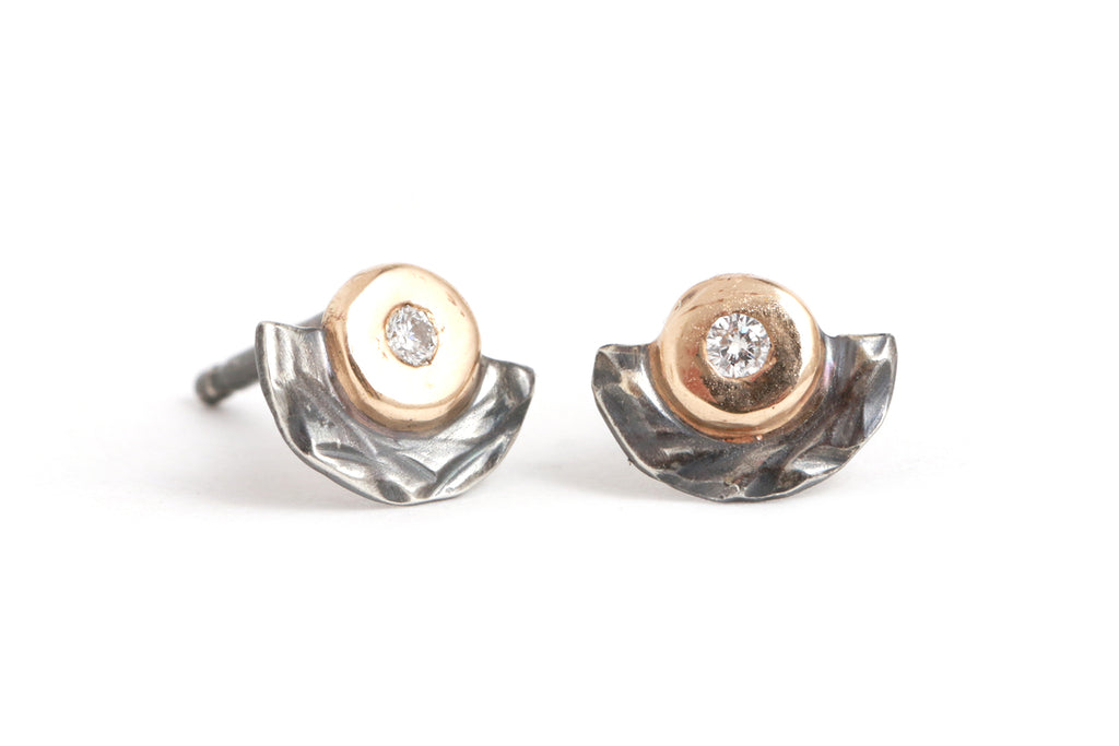 Nesting Diamond Stud Earrings - Melissa Joy Manning Jewelry