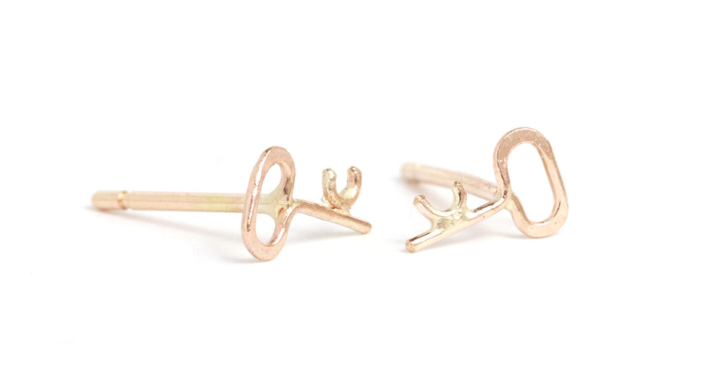Tiny Key Stud Earrings