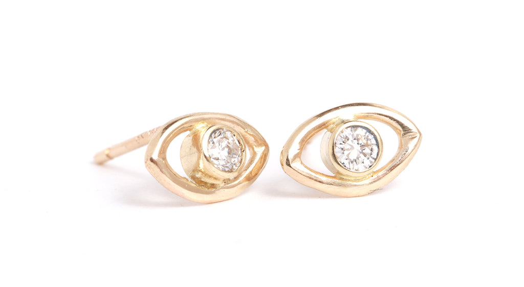 Diamond Eye Stud Earrings - Melissa Joy Manning Jewelry