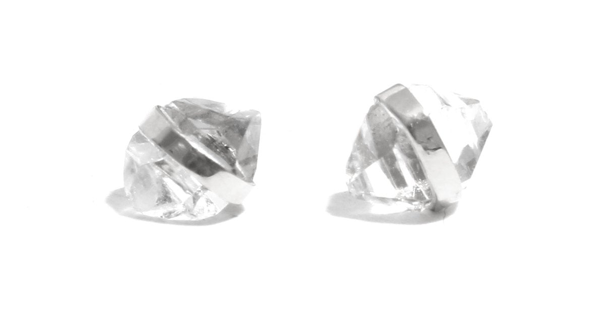 Bezel Set Mini Herkimer Stud Earrings - Melissa Joy Manning Jewelry