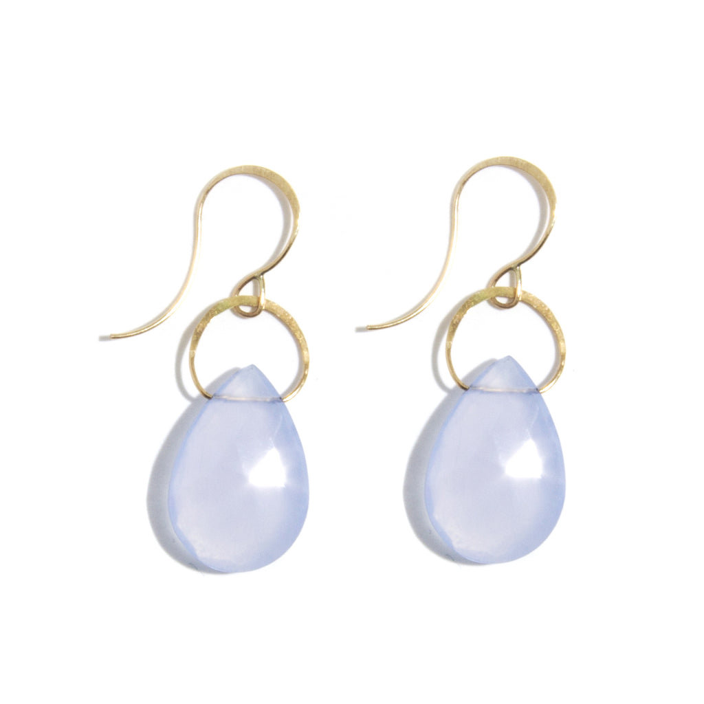 Blue Chalcedony Single Drop Earrings - Melissa Joy Manning Jewelry