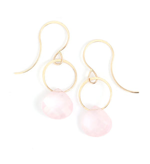 Rose Quartz Drop Earrings - Melissa Joy Manning Jewelry