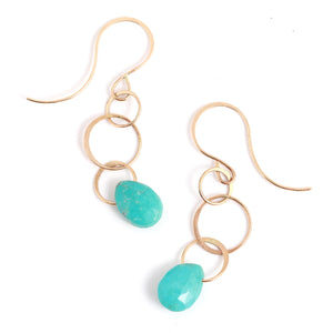 Turquoise Single Drop Earrings - Melissa Joy Manning Jewelry