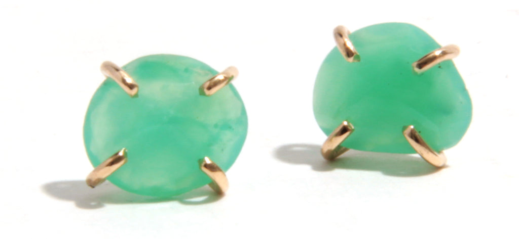 Chrysoprase Stud Earrings - Melissa Joy Manning Jewelry