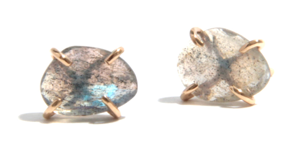 Prong Set Labradorite stud earrings - Melissa Joy Manning Jewelry