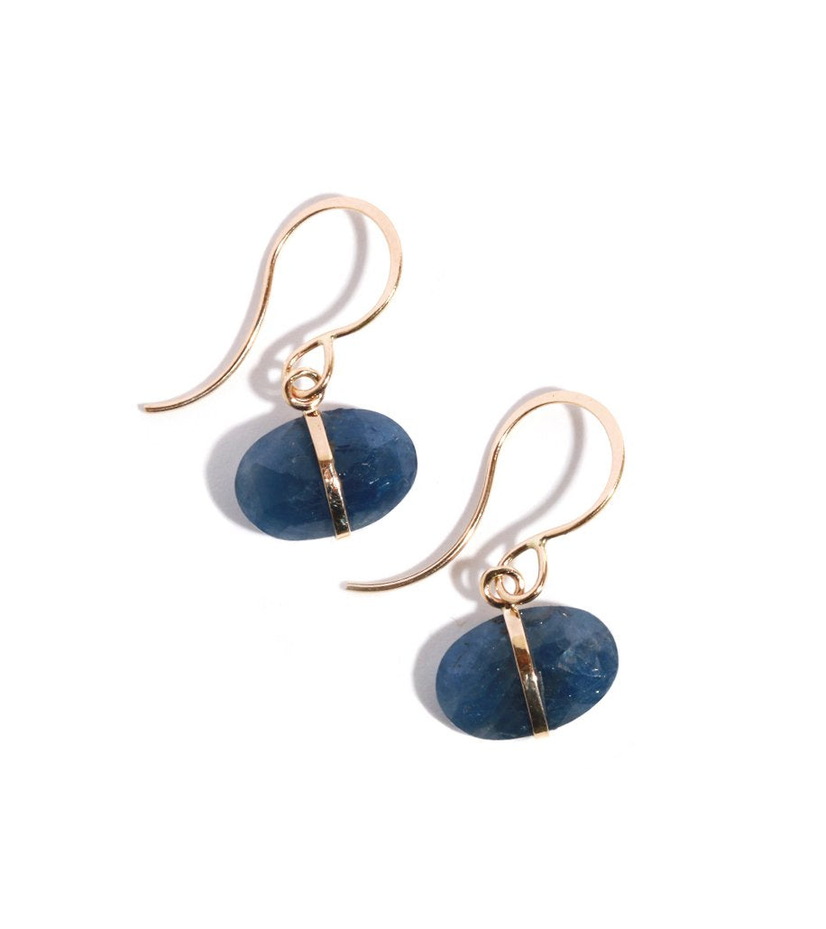 Blue Sapphire Single Drop Earrings - Melissa Joy Manning Jewelry