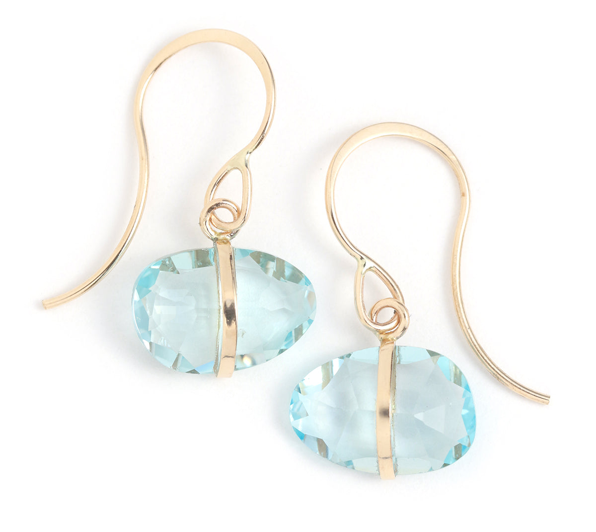 Blue Topaz Single Drop Earrings
