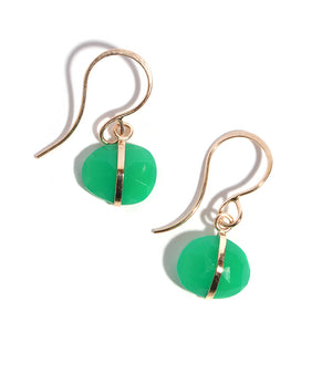 Chrysoprase Bezel Wrap Drop Earrings