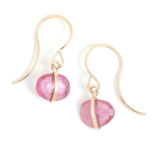Pink Sapphire Single Drop Earrings