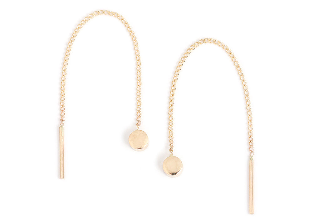 2 Inch Circle Pull Through Earrings - Gold - Melissa Joy Manning Jewelry