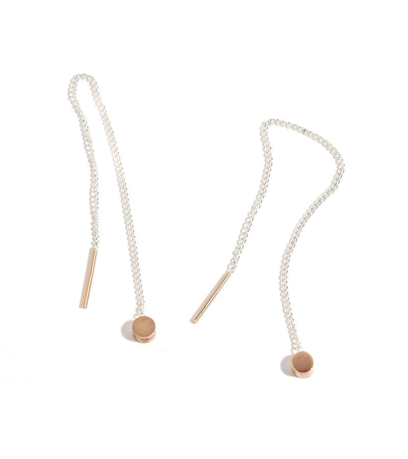 Circle Pull Through Earrings - Gold and Silver - Melissa Joy Manning Jewelry