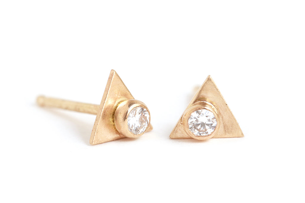 Diamond Triangle Stud Earrings - Melissa Joy Manning Jewelry
