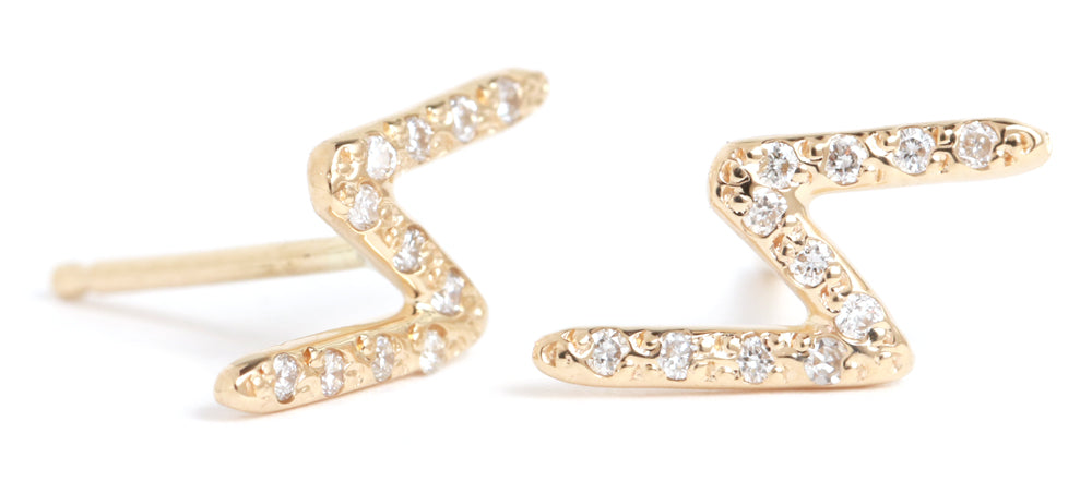 Pavé Diamond Bolt Stud Earrings