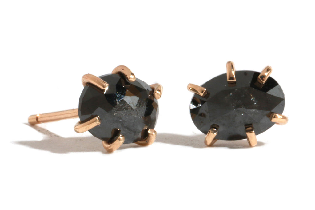 Rosecut Oval Black Diamond Stud Earrings - Melissa Joy Manning Jewelry