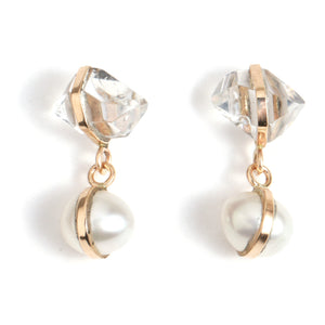 Pearl and Herkimer Drop Earrings - Melissa Joy Manning Jewelry
