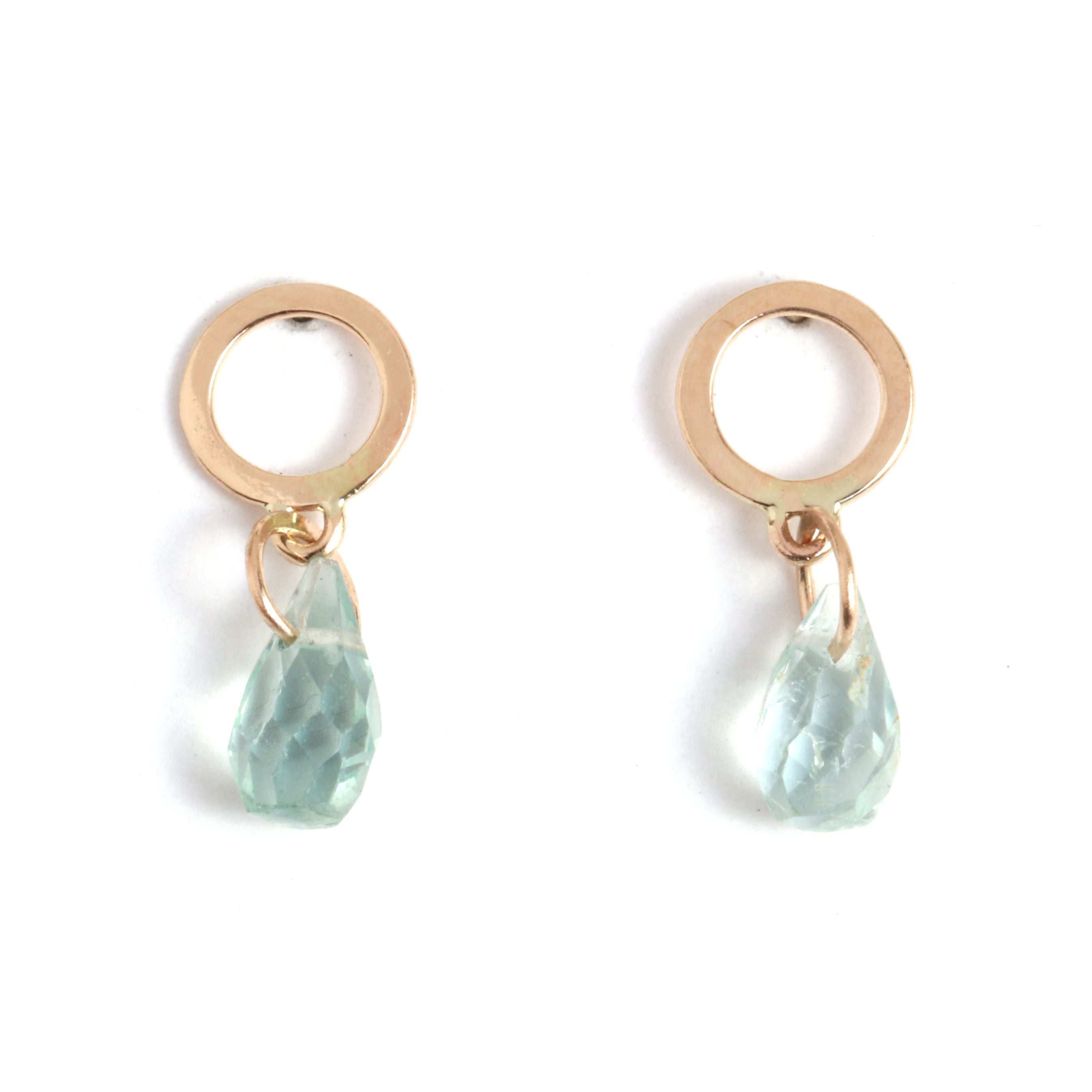 Flat Circle Stud Earrings with Aquamarine Drops - Melissa Joy Manning Jewelry