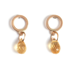 Flat Circle Stud Earrings with Citrine Drops - Melissa Joy Manning Jewelry