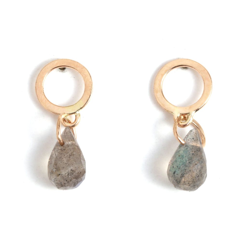 Flat Circle Stud Earrings with Labradorite Drops - Melissa Joy Manning Jewelry