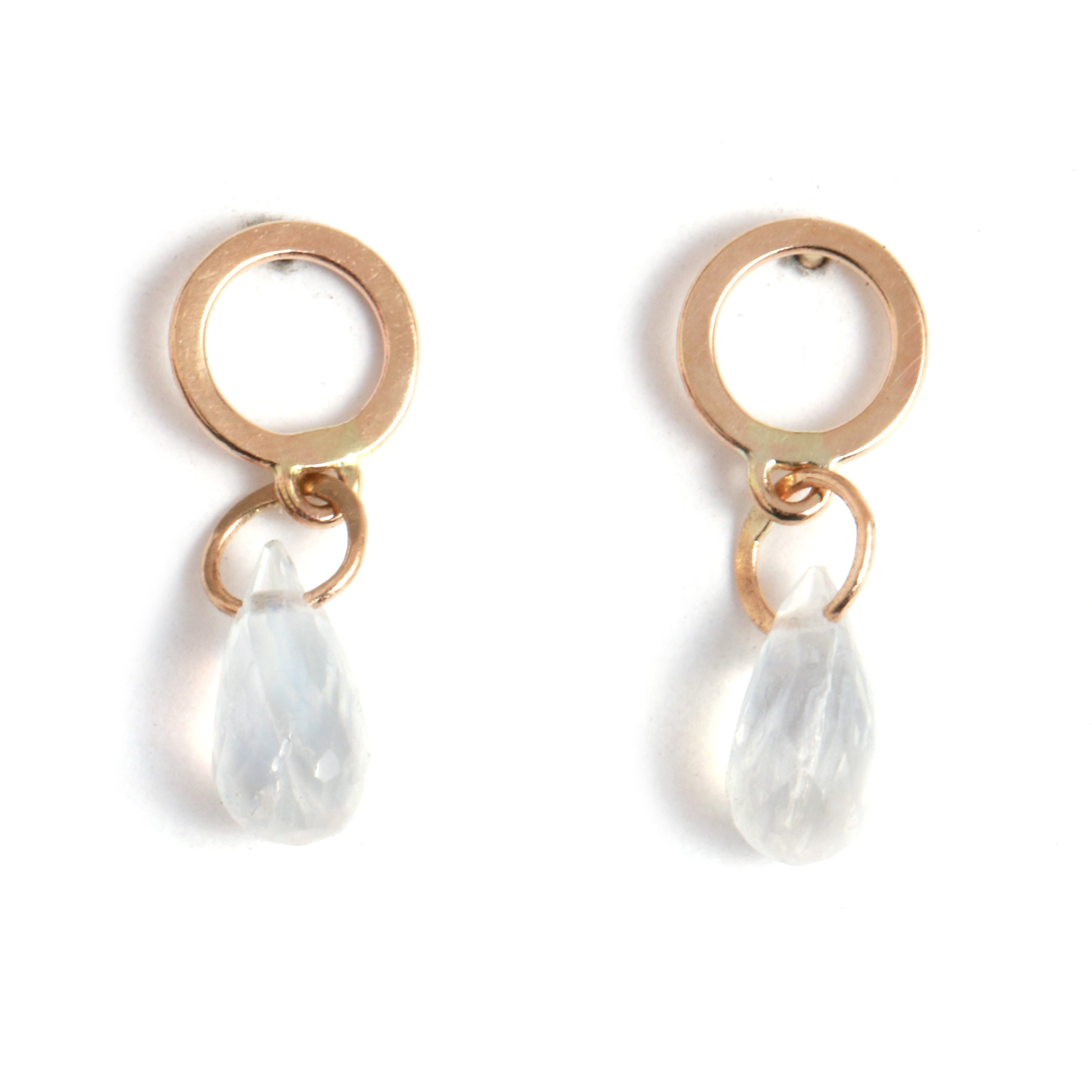 Flat Circle Stud Earrings with Moonstone Drops - Melissa Joy Manning Jewelry