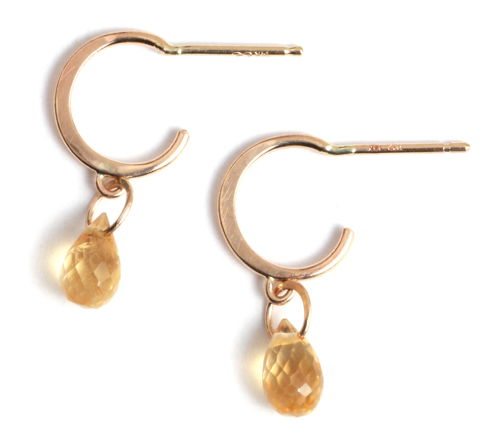 Tiny Hoop Earrings with Citrine Drops