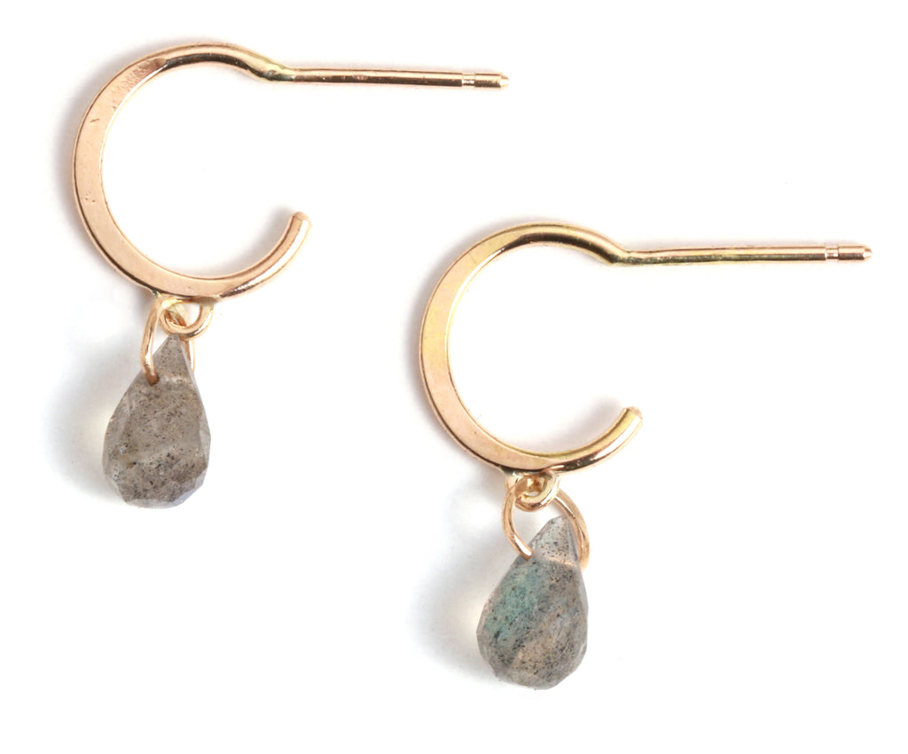 Tiny Hoop Earrings with Labradorite Drops - Melissa Joy Manning Jewelry