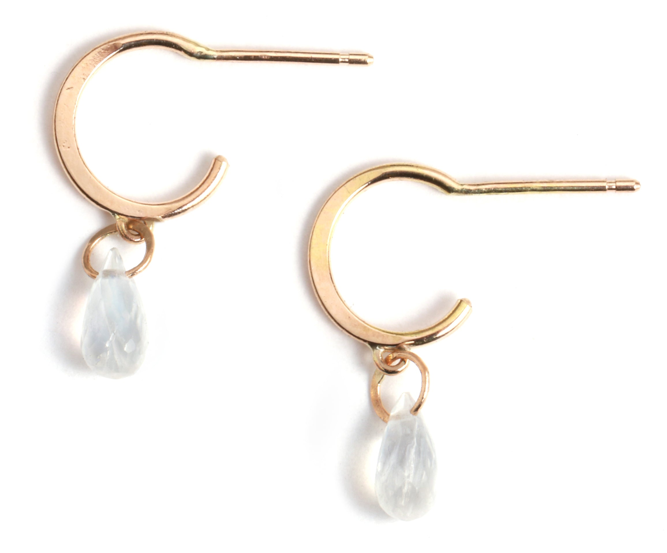 Tiny Hoop Earrings with Moonstone Drops