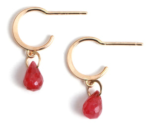 Tiny Hoop Earrings with Ruby Drops