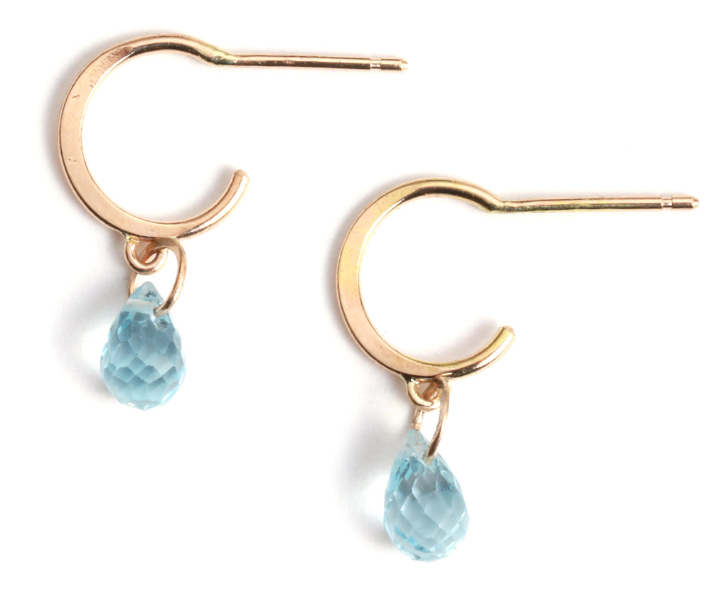 Tiny Hoop Earrings with Blue Topaz Drops - Melissa Joy Manning Jewelry
