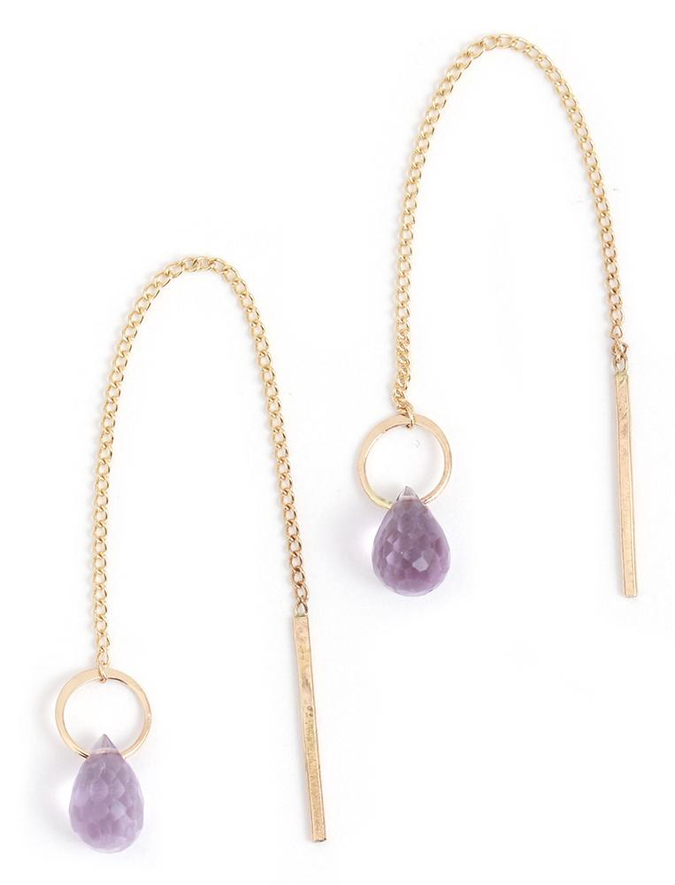 Gemstone Pull Through Chain Earrings - Gold - Melissa Joy Manning Jewelry