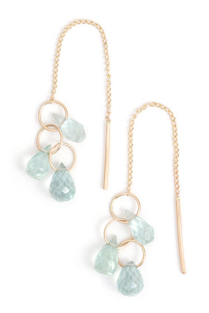 Aquamarine Cluster Pull Through Chain Earrings - Gold - Melissa Joy Manning Jewelry