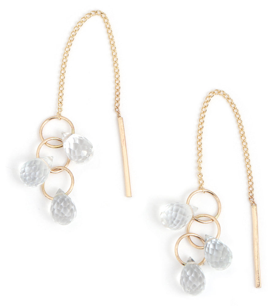 White Topaz Cluster Pull Through Chain Earrings - Gold - Melissa Joy Manning Jewelry