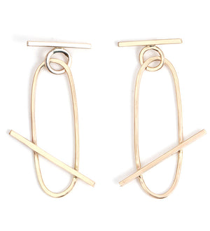 Bar Crossed Oval Drop Earrings - Melissa Joy Manning Jewelry