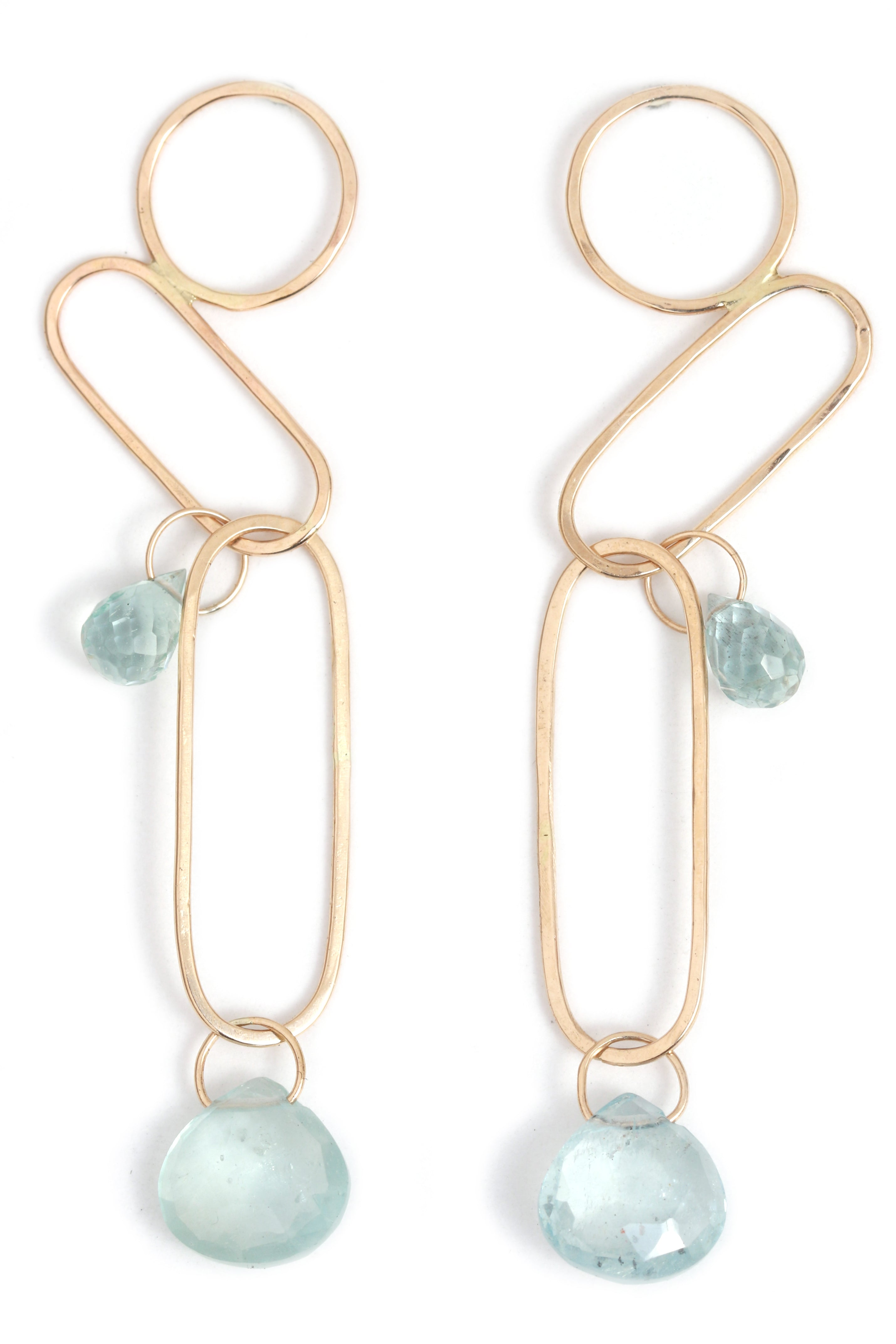Mixed Shape Dangle Earrings With Aquamarines - Melissa Joy Manning Jewelry