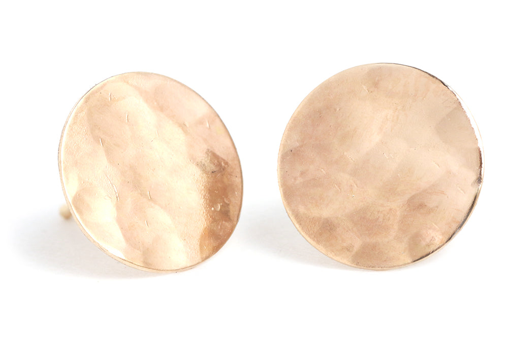 textured disc circle studs gold