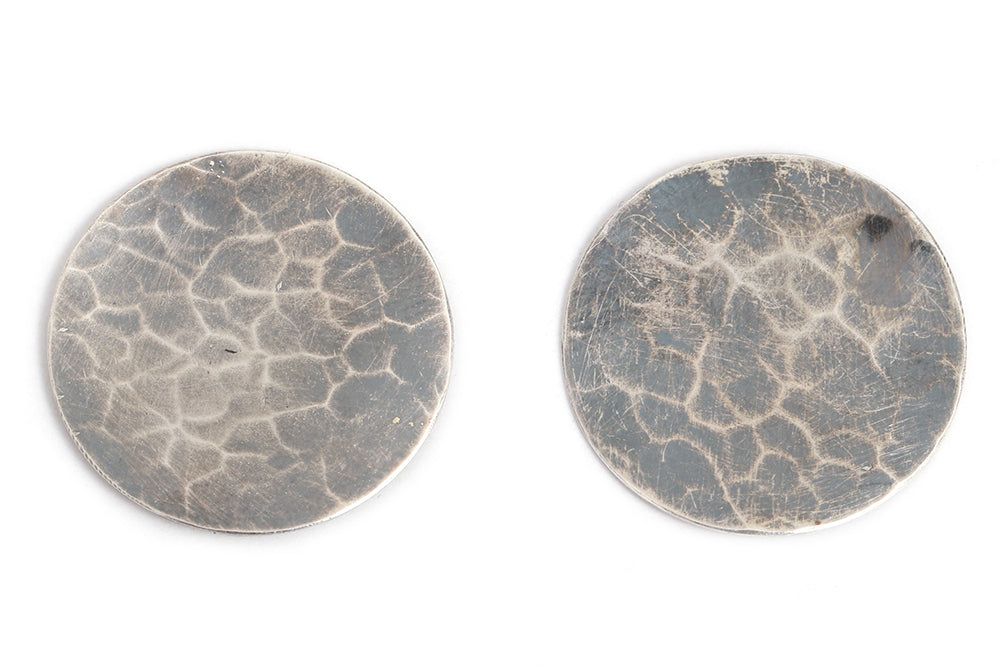 Oversized Textured Circle Stud Earrings