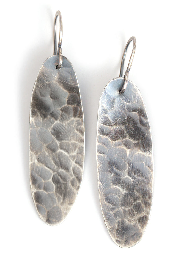Textured Oval Drop Earrings