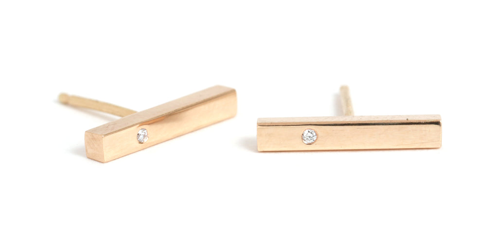 Diamond Studded Bar Earrings - Melissa Joy Manning Jewelry
