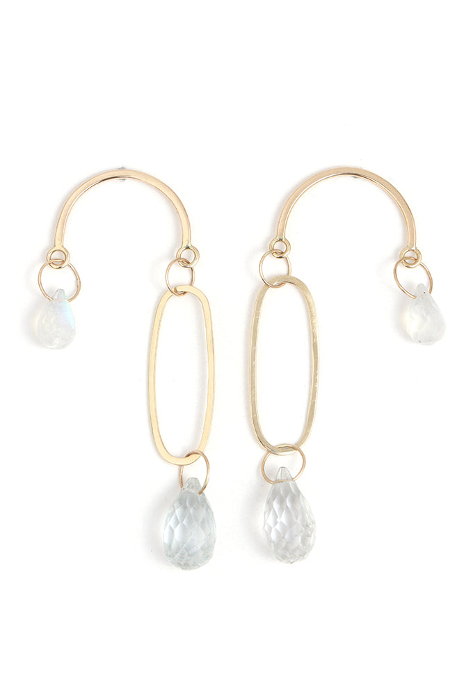 White Topaz and Moonstone Mobile Earrings - Melissa Joy Manning Jewelry