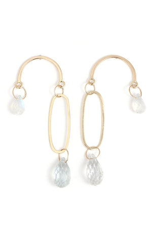 White Topaz and Moonstone Mobile Earrings