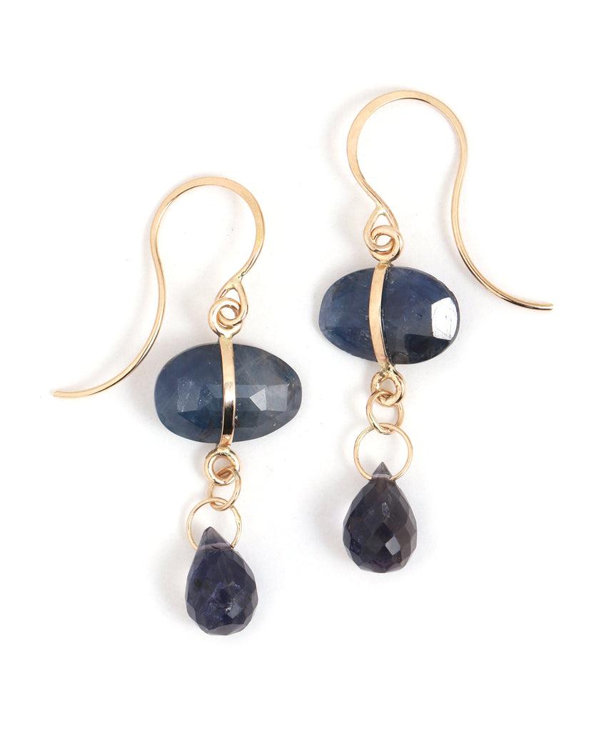 Blue Sapphire and Iolite Drop Earrings