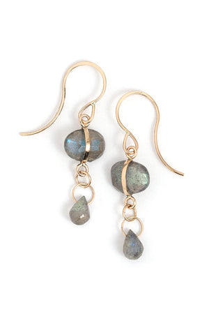 Labradorite Double Drop Earrings - Melissa Joy Manning Jewelry