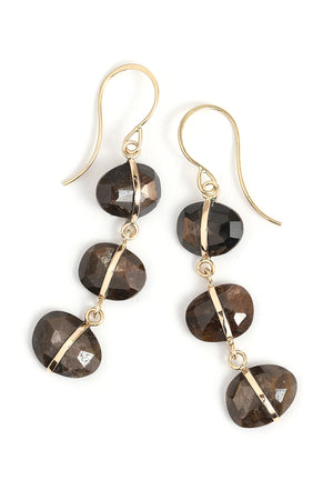 Brown Sapphire Triple Drop Earrings - Melissa Joy Manning Jewelry